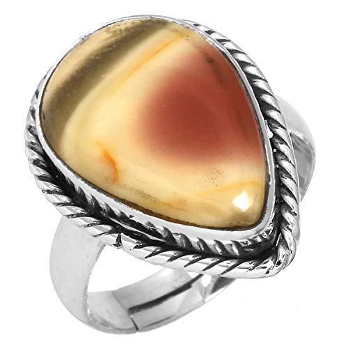Natural Royal Imperial Jasper (Mexico) Gemstone Latest Jewelry Solid 925 Sterling Silver Adjustable Ring Size 5 ()