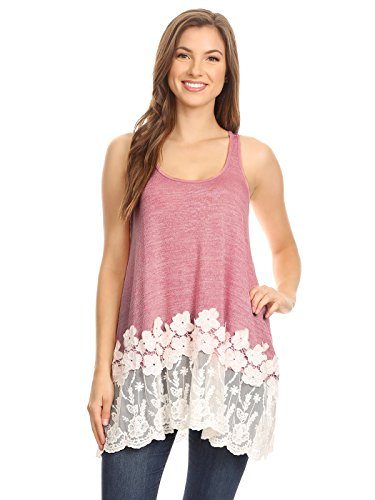 Anna-Kaci Womens Casual and Comfortable Loose Fit Tunic Tank Top with Lace Trim, Pink, Large