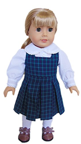 My Brittany's Blair Plaid Catholic School Jumper for American Girl Dolls (American Doll Girl Jumper)