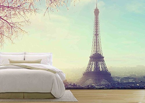 wall26 - Aerial View of Paris Cityscape with Eiffel Tower at Sunset Vintage Colored Picture. Business, Love and Travel Concept - Removable Wall Mural | Self-adhesive Large Wallpaper - 66x96 inches by wall26