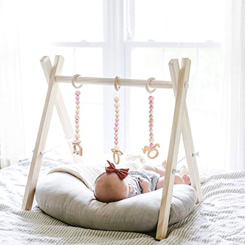 Funny Supply Wood Play Gym 3 Gym Toys Foldable Baby Play Gym Frame Activity Center Hanging Bar Newborn Gift ()