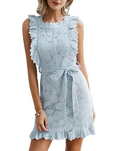 BerryGo Women's Elegant Lace Ruffle Mini Dress Sleevesless Cotton A-line Dress Light Blue