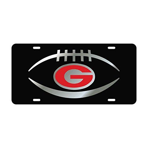 Mirror Acrylic License Plates (Georgia Bulldogs Mirror Laser License Plate Tag Black background, Silver, Mirror Red - Football and G logo)