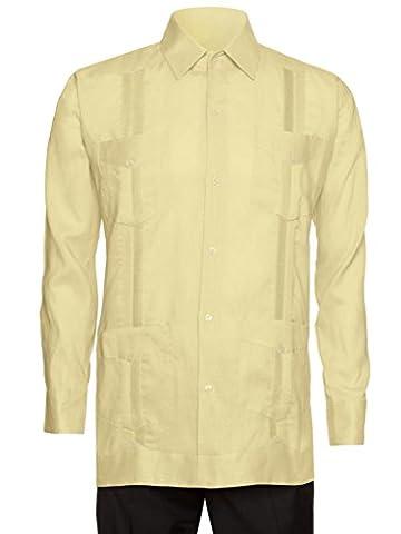 Giovanni Uomo Mens Long Sleeve 100% Linen Guayabera Shirt Honey 2X - Uomo Mens Fashion