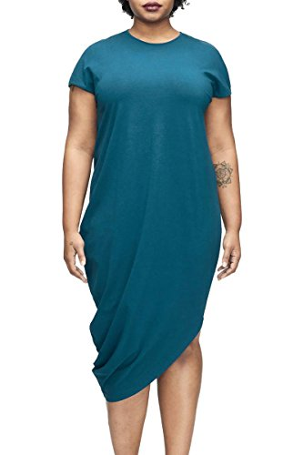 BLENCOT Women's Plus Size Short Sleeve Asymmetrical Hem Casual Loose Midi Dress As Shown XLarge