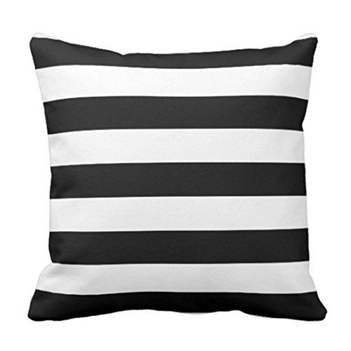 Emvency Throw Pillow Cover Horizontal Black and White Stripe Wide Decorative Pillow Case Home Decor Square 20 x 20 Inch Pillowcase