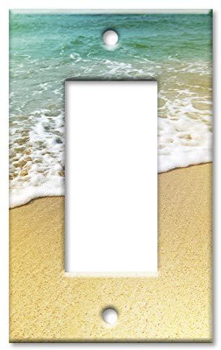 Art Plates 1 Gang Decora - GFCI Wall Plate - Foamy Waves on the Beach]()