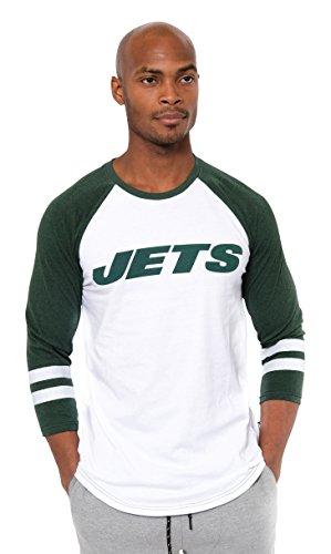 NFL New York Jets Men's Raglan Team Logo Long Sleeve T-Shirt, White, Large