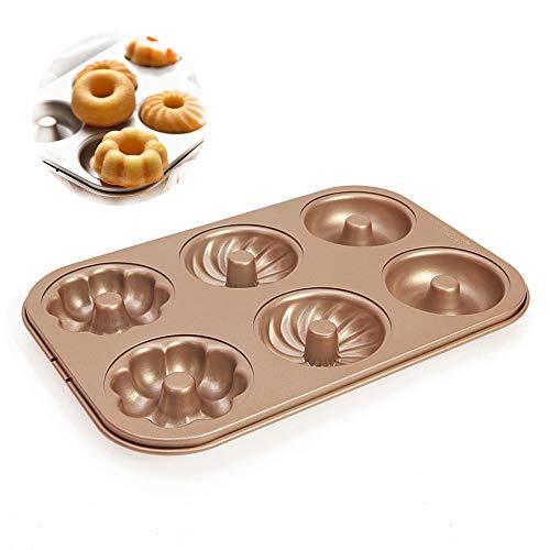 LUFEIYA Donut Pans for Baking 6 Cavity Instant Pot 6 Qt or 8Qt Toaster Oven Safe Mini Bundt Shaped Mold]()