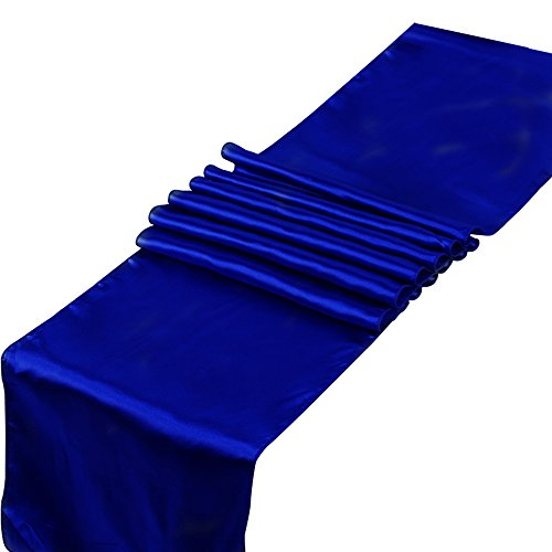 RayLineDo Pack of 5 12'' X 108'' Satin Table Runners for Wedding Party Banquet Table Party Bridal Decoration in Royal Blue (5 Runners Table)