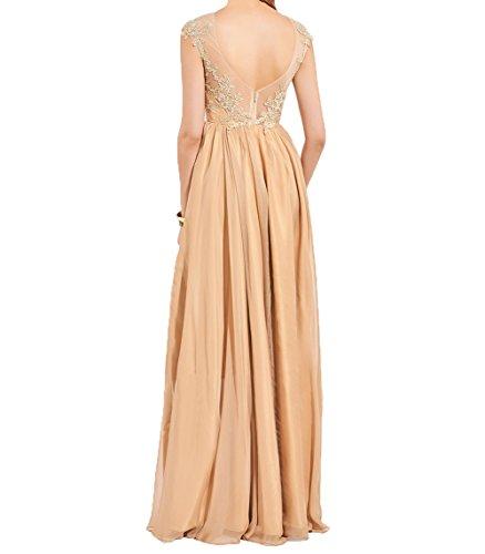 Damen Lila Lang Sommer Brautmutterkleider Charmant A Applikation Abendkleider Linie Chiffon Spitze Partykleider Elegant mit FwqxROd
