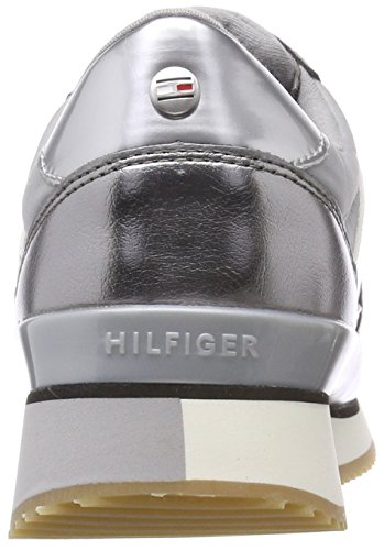 Hilfiger Mujer Metallic Tommy Gris Zapatillas Light Grey 004 para Sneaker aRXwqdw