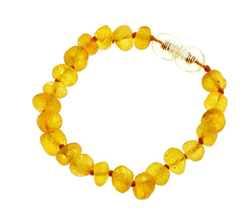 RAW AMBER BRACELET Certified Baltic Amber Teething Bracelet and Anklet Baby Beads for Teethers 5.5 inch long