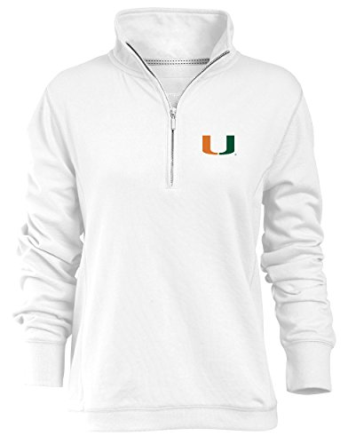 NCAA Miami Hurricanes Relaxed Quarter Zip Pullover, White, Large (Quarter Pullover Zip Fleece)