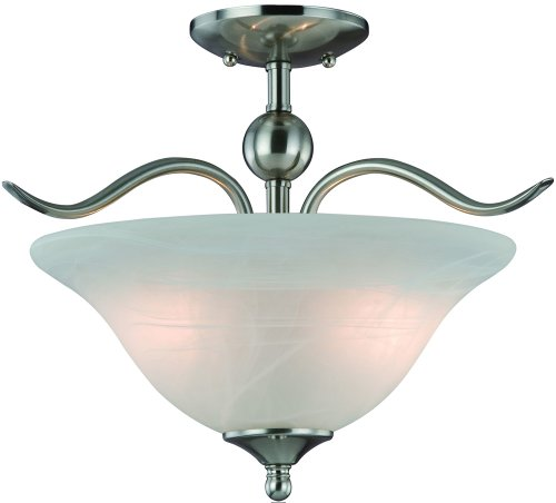 Hardware House H10-4289 Dover Semi Flush Mount Ceiling Light, Satin Nickel (Flush Mount Light Hardware)