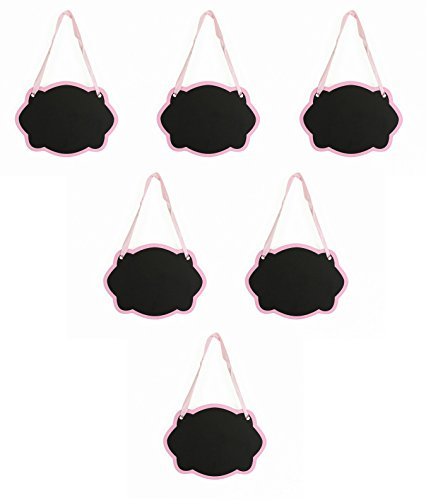 Dress My Cupcake 6pc 5.5 x 3.7-inch Oval Scroll Chalkboard Sign Message Board with Hanging String for Kitchen Pantry, Kids Crafts and Wall Décor (Light Pink)