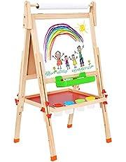 BATTOP Staffelei Hölzern Kinder mit Papierrolle Zweiseitig Höhenverstellbar Zeichnung Staffelei Malerei Staffelei mit Magnetischen Alphabeten und Zahlen