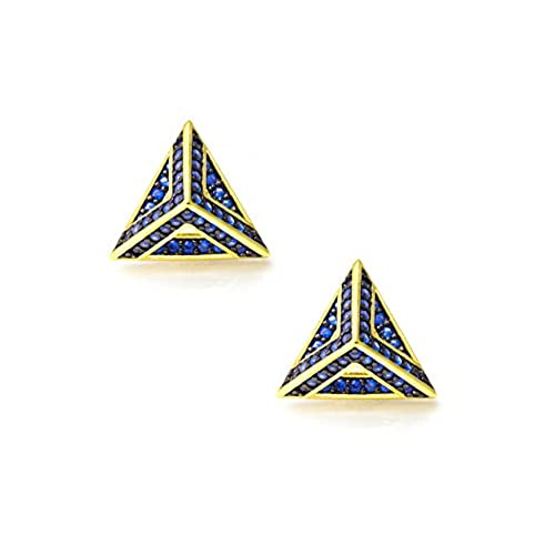 hot Pyramid Earring Studs, CZ Paved Gold Earrings for Women, Gift for Her, Office Jewelry big discount