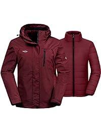 Women's 3-in-1 Waterproof Ski Jacket Interchange Windproof Puffer Liner Warm Winter Coat Insulated Short Parka