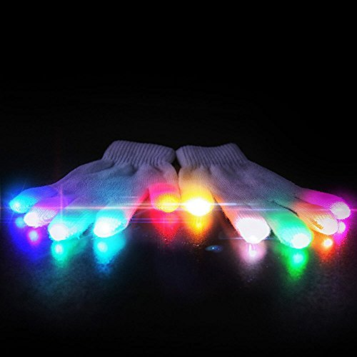 [Emazing Lights eLite Chroma CTRL LED Gloves, 5 Light Flashing Modes] (Pixel Gloves)