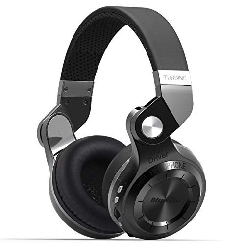 - Bluedio T2 Plus Turbine Wireless Bluetooth Headphones with Mic/Micro SD Card Slot/FM Radio (Black)