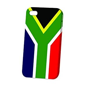 Case Fun Apple iPhone 4 / 4S Case - Vogue Version - 3D Full Wrap - Flag of South Africa Style 2