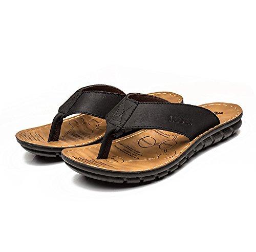 estate Uomini sandali vera pelle Spiaggia scarpa vera pelle Uomini sandali Uomini ,nero,US=7.5,UK=7,EU=40 2/3,CN=41