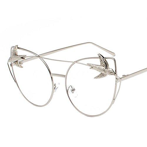 Aoligei Femelles réflectorisé marée personnalité lunettes oiseau original hôte vent rétro océan film lunettes de soleil F