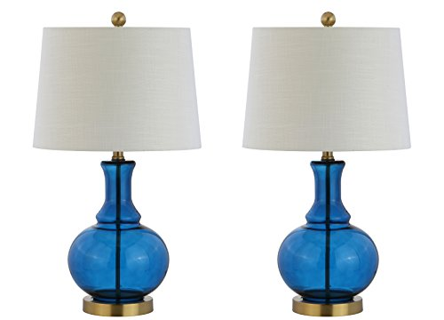 "25"" Lavelle Glass LED Table Lamp Set Of 2 Cobalt (Includes Energy Efficient Light Bulb) - JONATHAN Y"