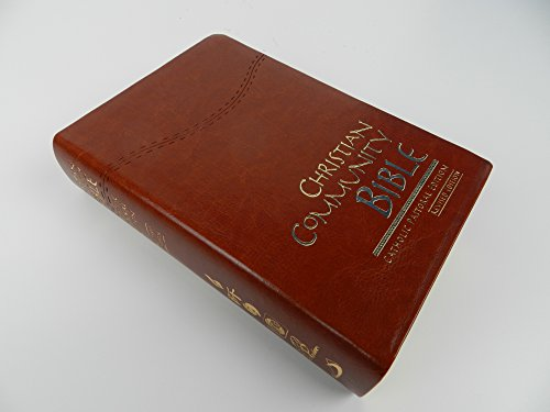 Christian Community Bible with Study Notes / Luxury Brown Leather Bound / Mid Size Purse Size / Revised 2013 Text 60th Edition / Catholic Pastoral Edition / Golden Edges