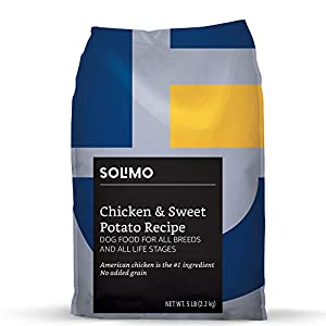 Amazon Brand - Solimo Ultra-Premium Dry Dog Food, No Added Grain, Chicken & Sweet Potato Recipe, 5 Lb. Bag
