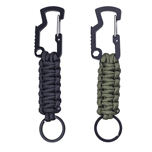 Easere Paracord Survival Keychain Paracord Lanyard Keychain with Carabiner Bottle Opener Screw Wrench for Keys, Knife, Flashlight, Whistle, Useful for Outdoor Camping, Hiking, Black & Army Green