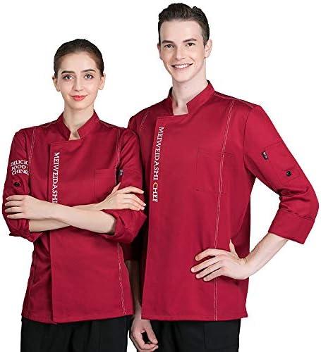 XRRa&XF Unisexo Mujeres Hombre Verano Manga Larga Camisa de Cocinero Transpirable Chaquetas de Chef Uniforme Cocina Restaurante Occidental,002,M: Amazon.es: Deportes y aire libre