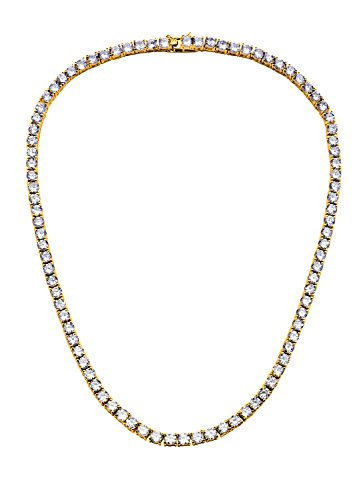 NYC Sterling Unisex Gold Plated Sterling Silver 4mm Cubic Zirconia Tennis Necklace (16 Inch)