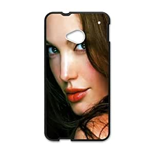 HTC One M7 Cell Phone Case Black Angelina Jolie Face SUX_206262