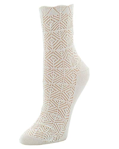 Natori Mesh Textured Wome n's Crew Socks Ivory One Size