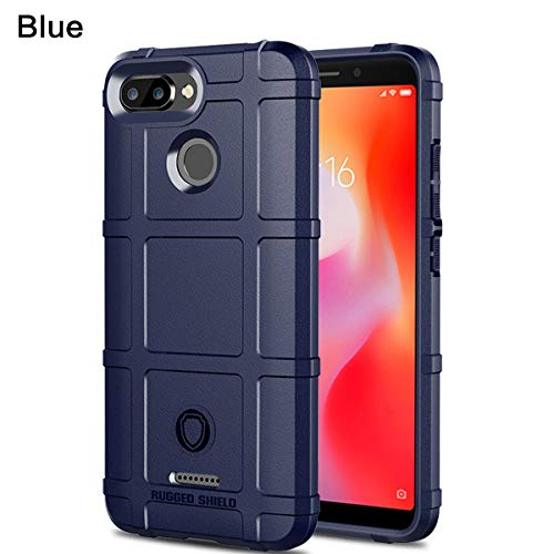 Blue 146 Shape - Mpaltor Xiaomi Redmi 6 Case, Hybrid Shockproof Slim Cover Fit Scratch Resistant Rubber Bumper Back and Protective for Xiaomi Redmi 6 - Blue
