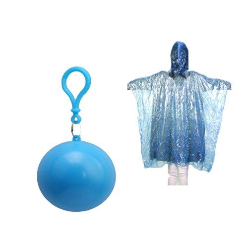 Albeey Einweg Regenmantel Notfall Wasserdicht Regenmantel Plastikbälle Regen Poncho (blau)