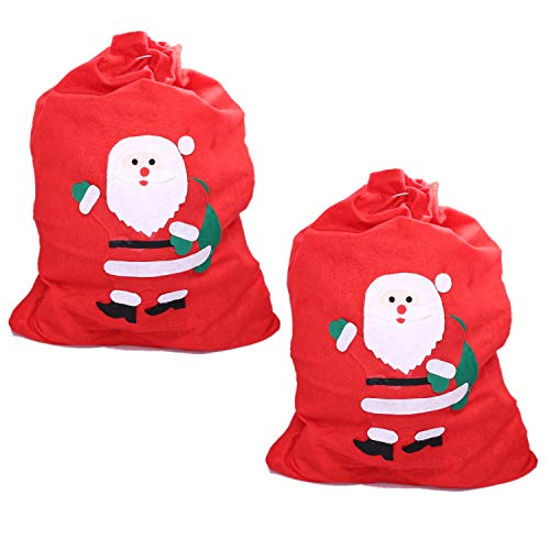 """Personalized Gift Wrap - UNIQOOO 2 Pack Red Extra Large Christmas Santa Sacks - Personalized Bags for Kids & Gifts with Cord Drawstring – Festive Looking Big Hit Your Christmas Tradition and Nice Decorations, 27.5"""" x 19.5"""""""