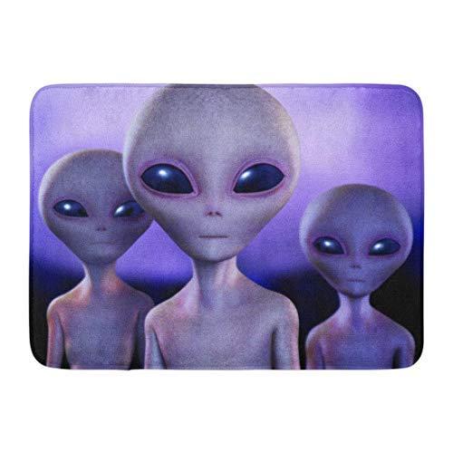 """GTdgstdsc Doormats Bath Rugs Outdoor/Indoor Door Mat Green Alien E Gray UFO Space Grey Monster Extraterrestrial Bathroom Decor Rug 16"""" x 24"""""""