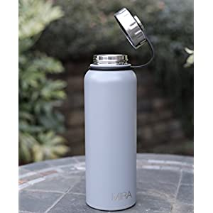 MIRA 40 Oz Stainless Steel Vacuum Insulated Wide Mouth Water Bottle | Thermos Keeps Cold for 24 hours, Hot for 12 hours | Double Walled Powder Coated Travel Flask | Gray
