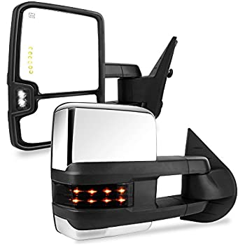 yitamotor towing mirror for chrome power heated led signal reverse light  tow mirrors, compatible for 2007-2013 chevy silverado/gmc sierra 1500  2500hd 3500hd