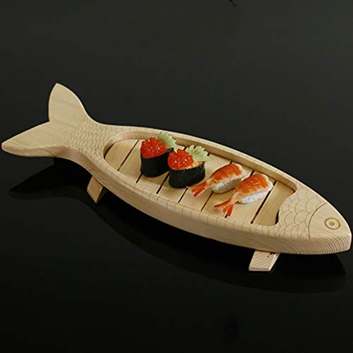 Yushen Fish Shape Japanese Sushi Serving Tray Plate Tool Wooden Sashimi Display Dishes Tableware Decor 20.4 x 5.9 Inch