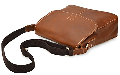 ALTOSY 15 Inch Genuine Leather Messenger Bag Satchel Bag for Office Work College School Business 8069 (light brown) by ALTOSY (Image #6)