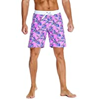 Nonwe Men's Swim Trunks Printed Quick Dry Drawsting with 3 Pockets