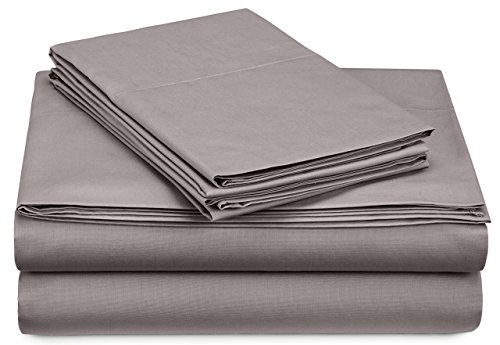 Pinzon 300 Thread Count Percale Cotton Sheet Set - Twin XL, Platinum (Sheet Custom Sets)