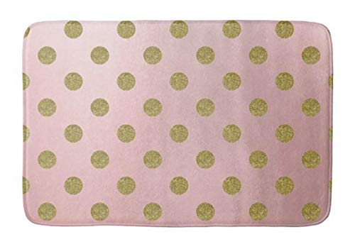 Aomsnet Soft Rose Pink Gold Glitter Glam Polka dots Cute Bathroom Decor Mat, Shower Rug Mat Water Absorbent Fast Drying Kitchen, Bedroom, Spa Tub.30 L X 18