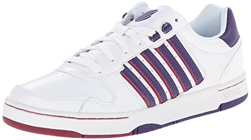 K-Swiss Women's Jackson Fashion Sneaker, White/Parachute Purple/Beet Red, 7.5 M US