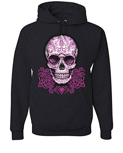 Pink Sugar Skull with Roses Hoodie Calavera Day of The Dead Sweatshirt Black M (Hoodie Pink Skull)