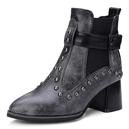 Martin Rivetti Donne Donne Autunno Fibbia Fibbia Donna Black Stivali Di Cintura Grandi KUKI Stivali Boots Da Dimensioni Scarpe Donna 46dwq0q5